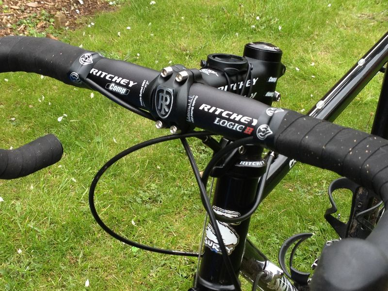 close up of surly cross check showing Ritchey Comp stem and bars