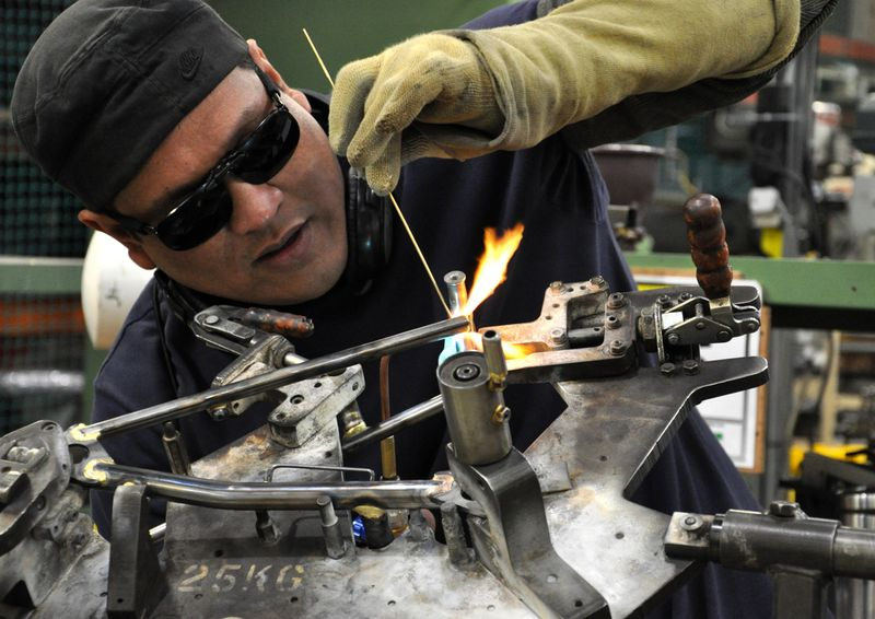 Brazing a Brompton frame at the factory