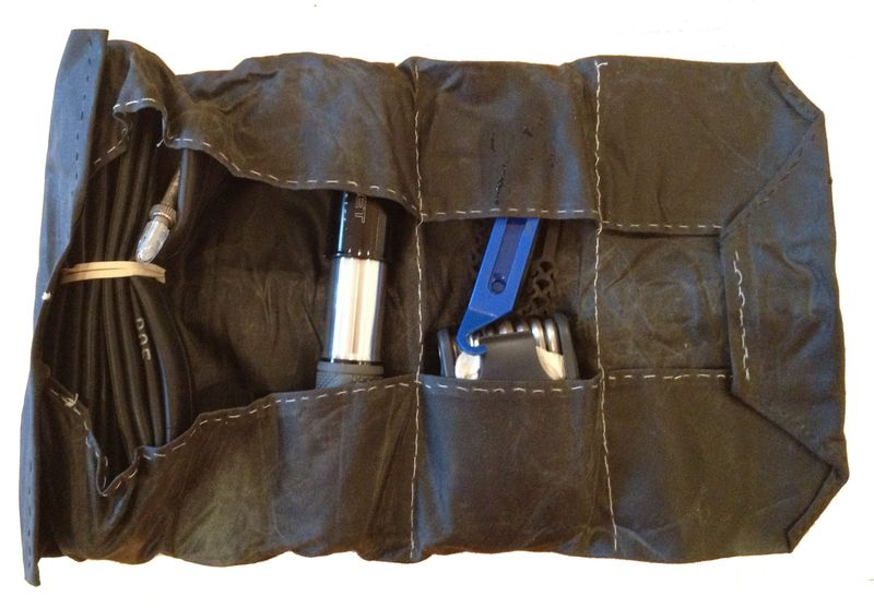 Waxed cotton bike tool roll 2