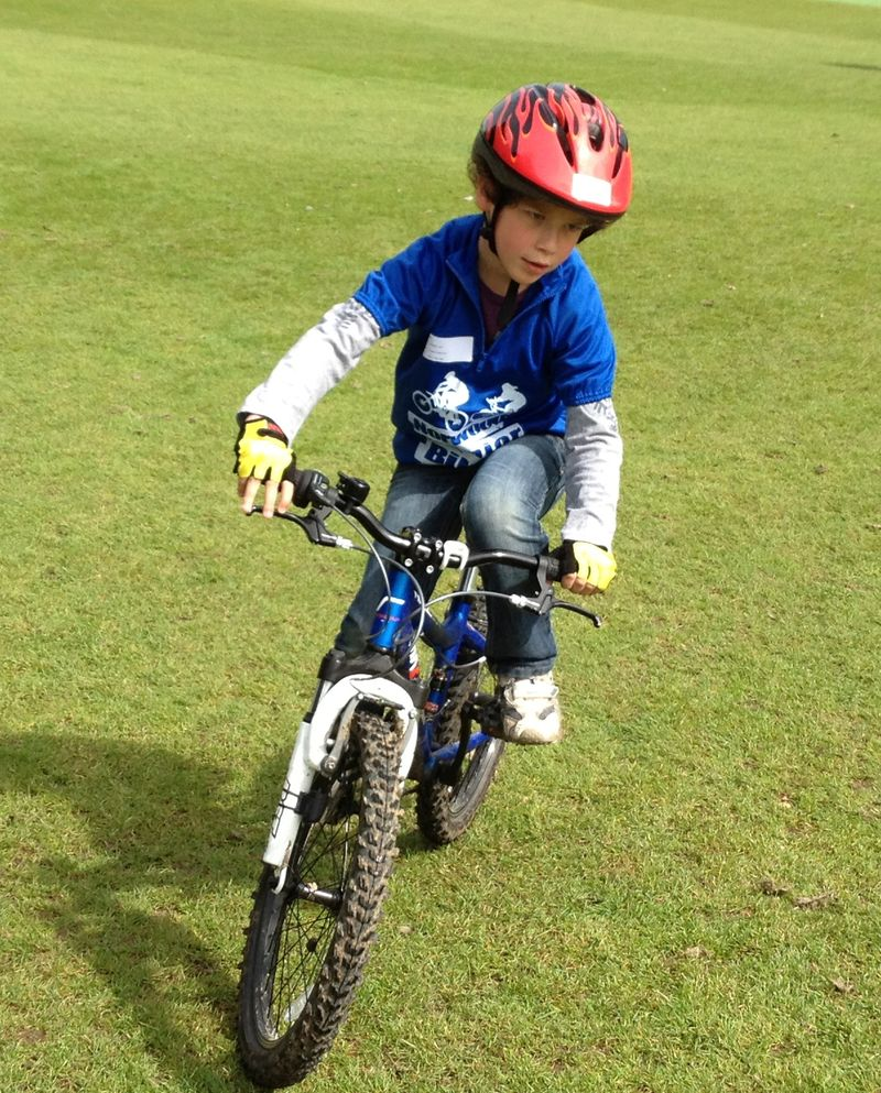 child riding MTB bicycle