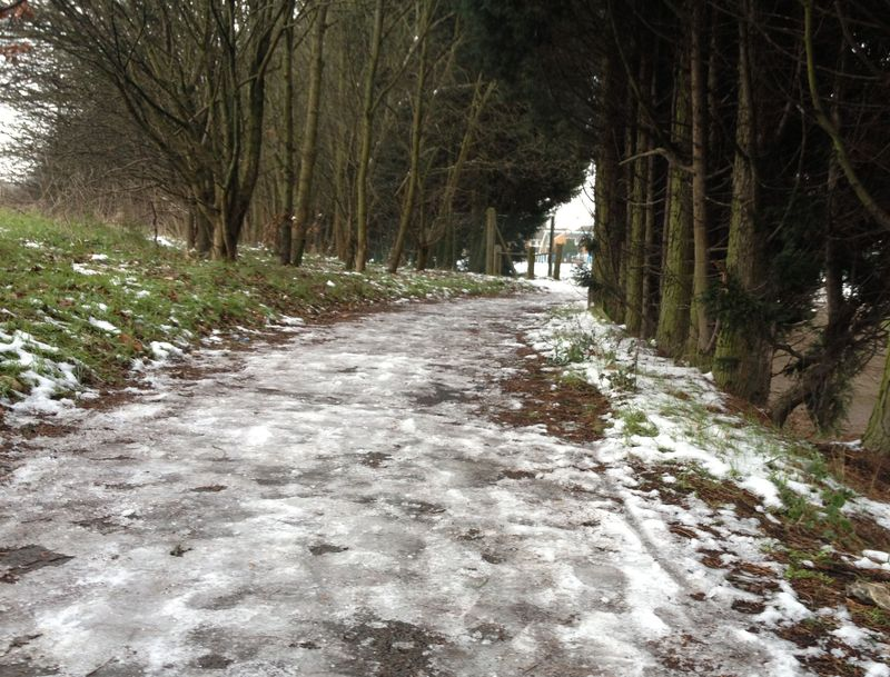 icy bike path